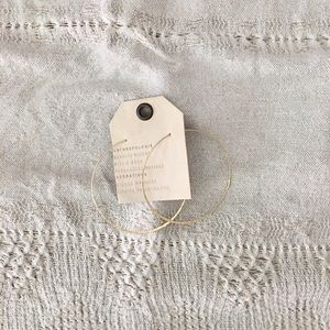 Anthropologie Hammered Gold Hoop Earrings • NWT